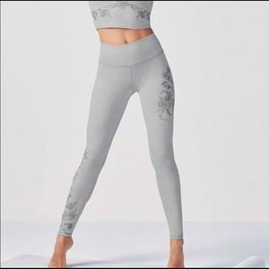 Fabletics PowerHold Gray Embroidered Leggings M